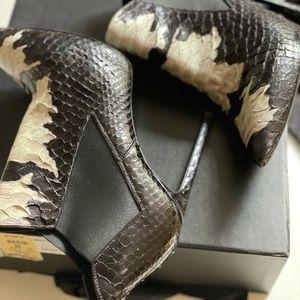 Saint Laurent snakeskin booties